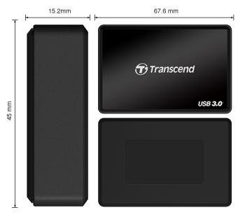 Dimensi Multi Card Reader All in One Transcend USB 3 - RDF8