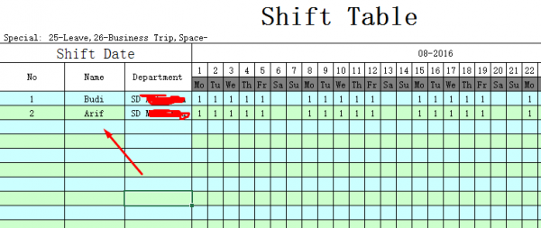 Sheet - Shift Table FingerPrint Time Tech FE 900