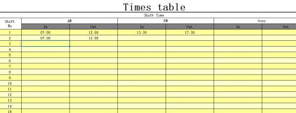 Sheet - Times Table FingerPrint Time Tech FE 900