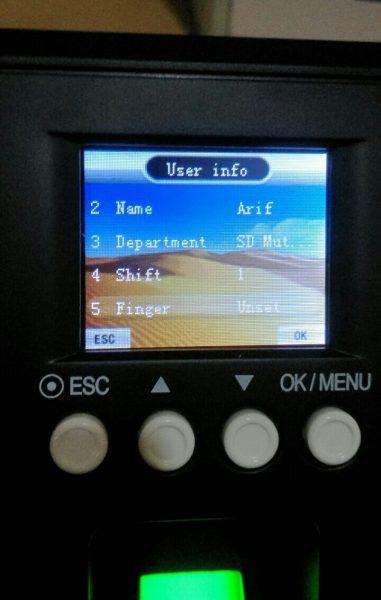 Tampilan user - FingerPrint Time Tech FE 900