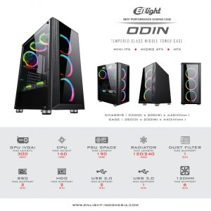 Case Gaming Enlight ODIN – Front & Side Tempered