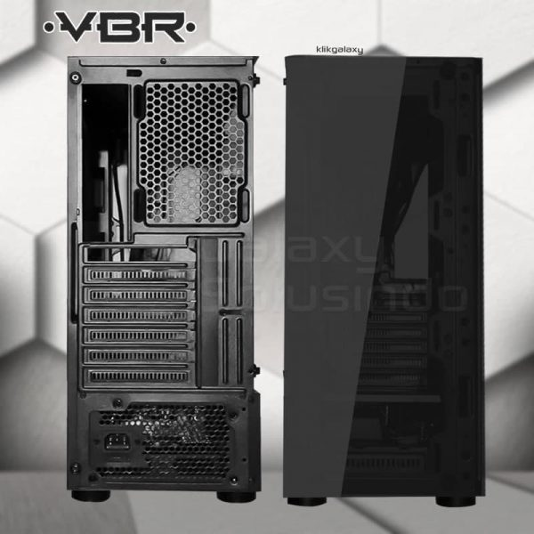 Casing Gaming VBR Panther Tempered Glass - include 4 Fan RGB tampak belakang