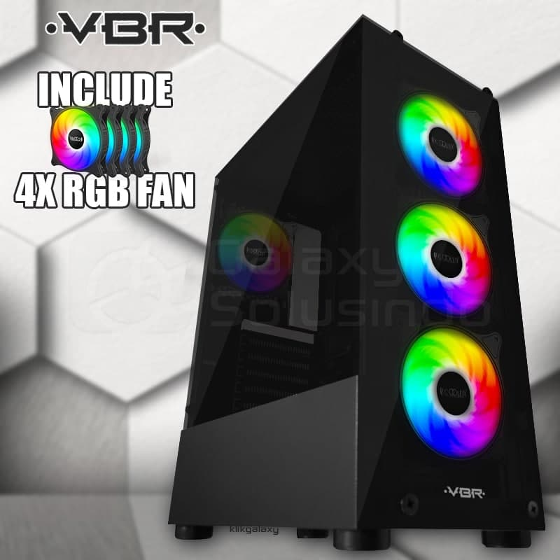Casing Gaming VBR Panther Tempered Glass - include 4 Fan RGB tampak depan